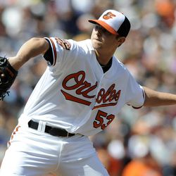 Baltimore Orioles starting pitcher Zach Britton (53) delivers a pitch against the New York Yankees during the third inning of a baseball game on Sunday, Sept. 9, 2012, in Baltimore.
