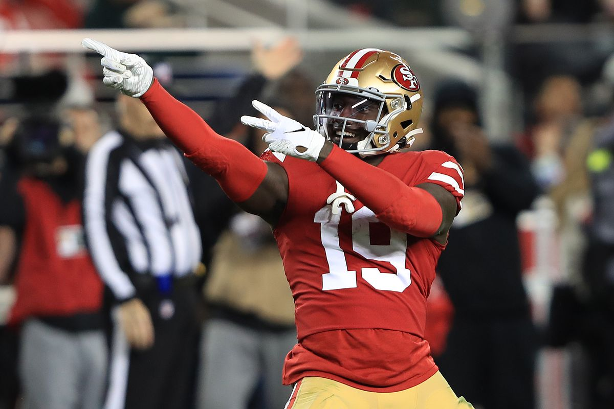 Deebo Samuel #19 of the San Francisco 49ers reacts after a play against the Green Bay Packers during the NFC Championship game at Levi's Stadium on January 19, 2020 in Santa Clara, California.