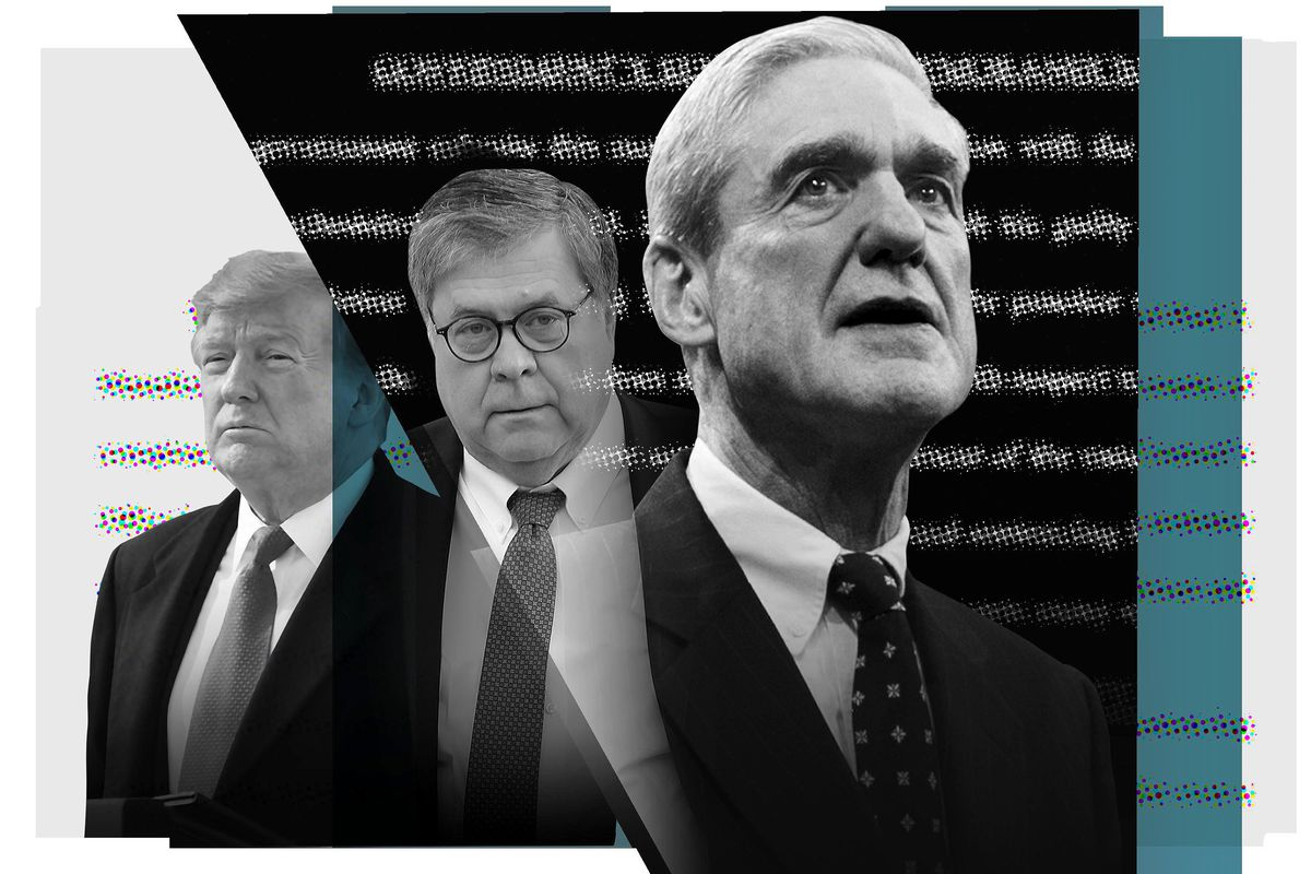 President Trump, William Barr, and Robert Mueller