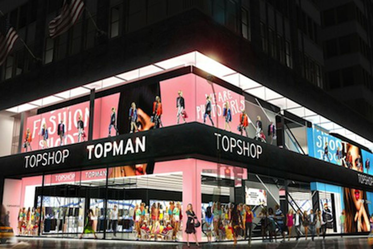 """A rendering of the new store at 608 Fifth Avenue; Image via <a href=""""http://www.wwd.com/retail-news/specialty-stores/topshop-sets-fifth-avenue-unit-in-manhattan-7409282"""">WWD</a>"""