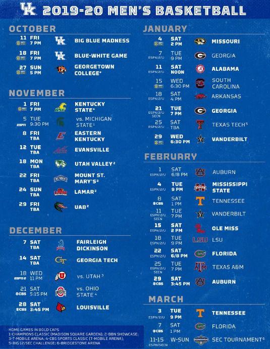 Uk Football Schedule 2020.Kentucky Basketball 2019 20 Schedule Set A Sea Of Blue