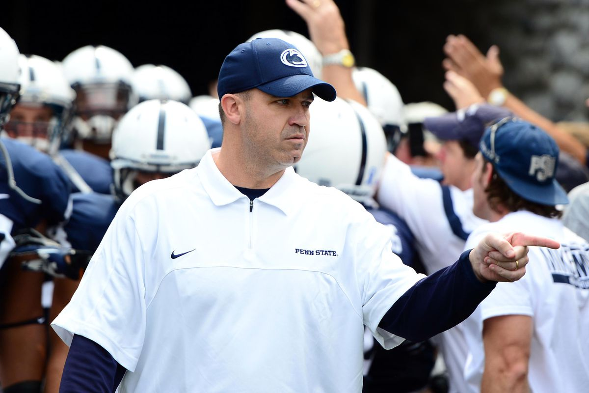 Sep 1, 2012; University Park, PA, USA; Penn State Nittany Lions head coach Bill O'Brien leads the team onto the field prior to the game against Ohio Bobcats the at Beaver Stadium. Mandatory Credit: Andrew Weber-US Presswire