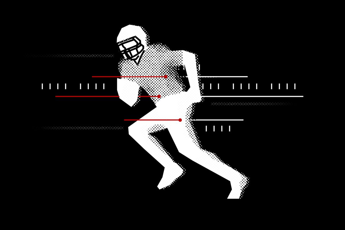 Illustration showing a football player running. Lines pass through their body insinuating bullet trails.