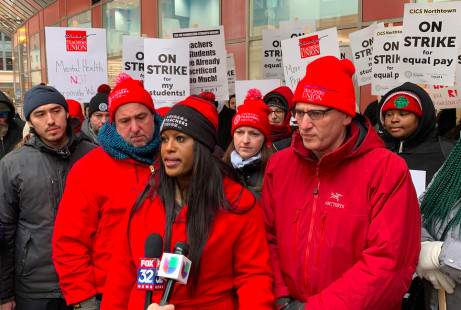 CTU VIce President Stacy Davis Gates speaks Tuesday at a rally outside the Thompson Center. | Mitchell Armentrout/Sun-Times