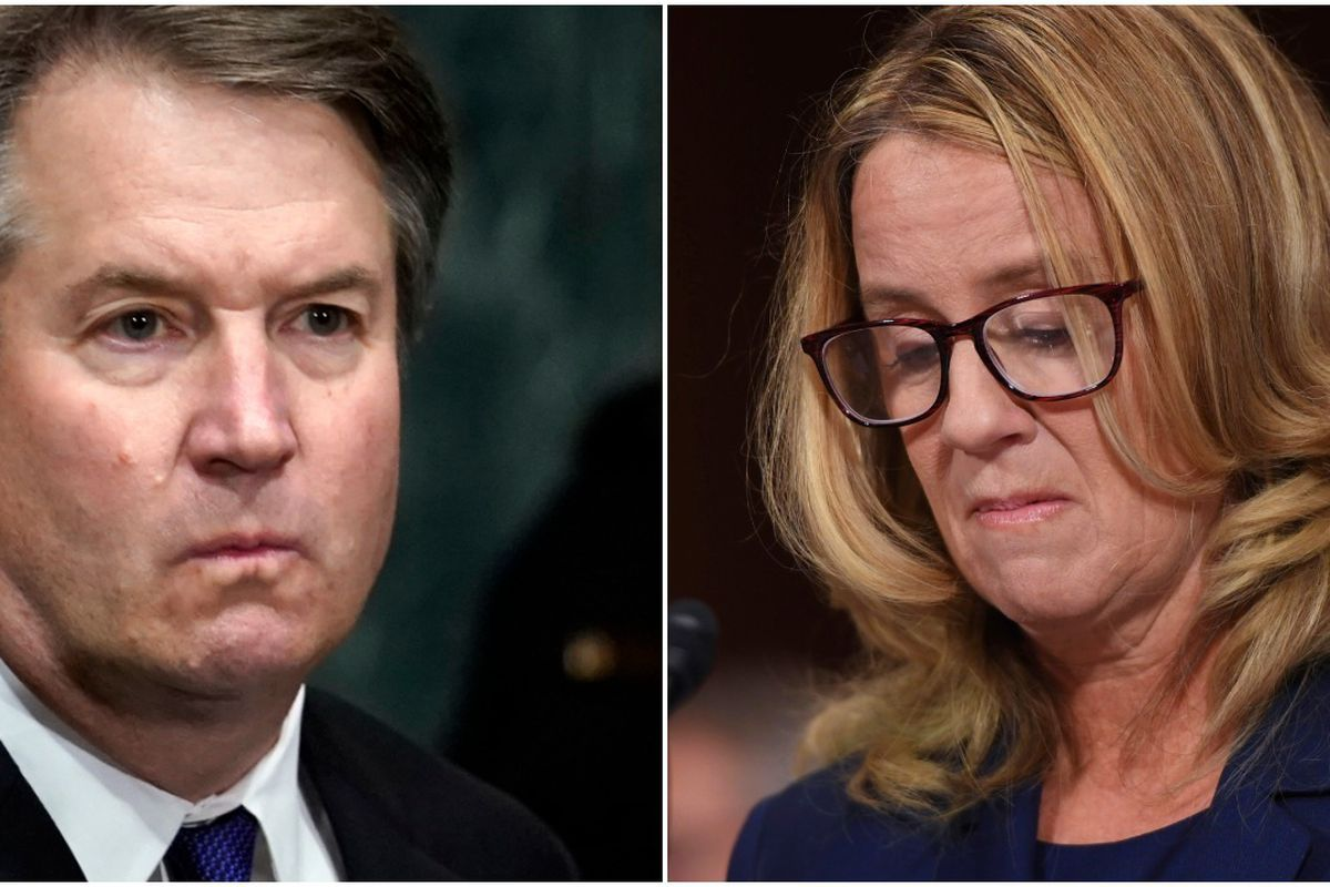 Brett Kavanaugh and Christine Blasey Ford testify to the Senate Judiciary Committee on Capitol Hill in Washington, Thursday, Sept. 27.