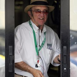 NASCAR Sprint Cup Series team owner Jack Roush comes out of a trailer during practice for this weekend's auto race at Texas Motor Speedway, Friday, April 13, 2012, in Fort Worth, Texas. Texas has been good to Roush's drivers with eight victories out of 22 races.