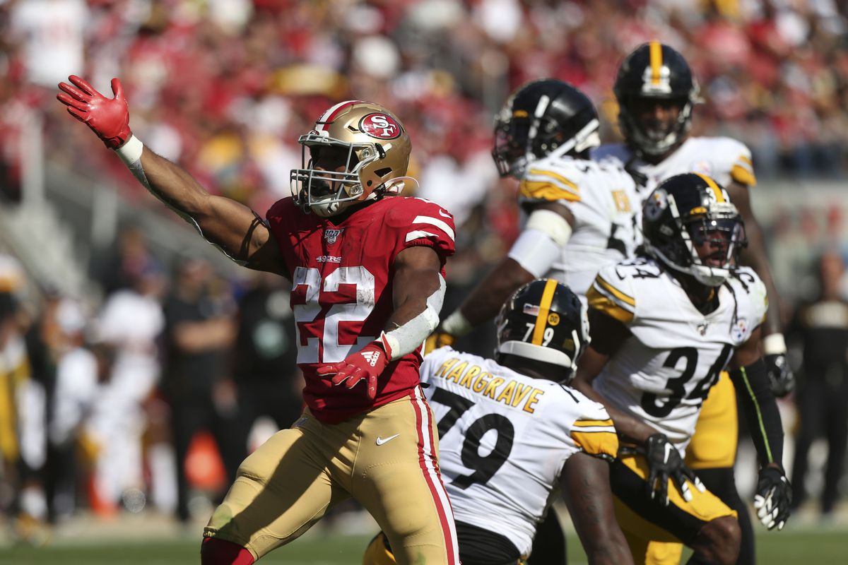 San Francisco 49ers running back Matt Breida reacts after picking up a first down against the Pittsburgh Steelers in the third quarter at Levi's Stadium