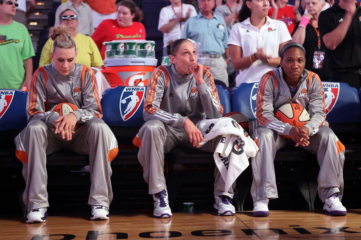 Diana Taurasi (center) and the Phoenix Mercury are ready to fight for the Western Conference title with the WNBA resuming regular season play today after the All-Star break. (Photo by Christian Petersen/Getty Images)
