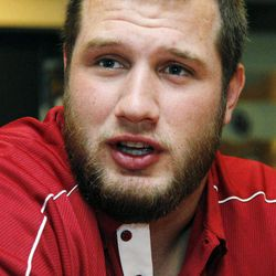 Oklahoma left tackle Lane Johnson answers a question during an NCAA college football news conference in Norman, Okla., Monday, Sept. 17, 2012. After getting nudged down the rankings in the first three weeks of the season, Oklahoma (2-0) emerge from an off week to play No. 15 Kansas State (3-0) on Saturday night in Norman.
