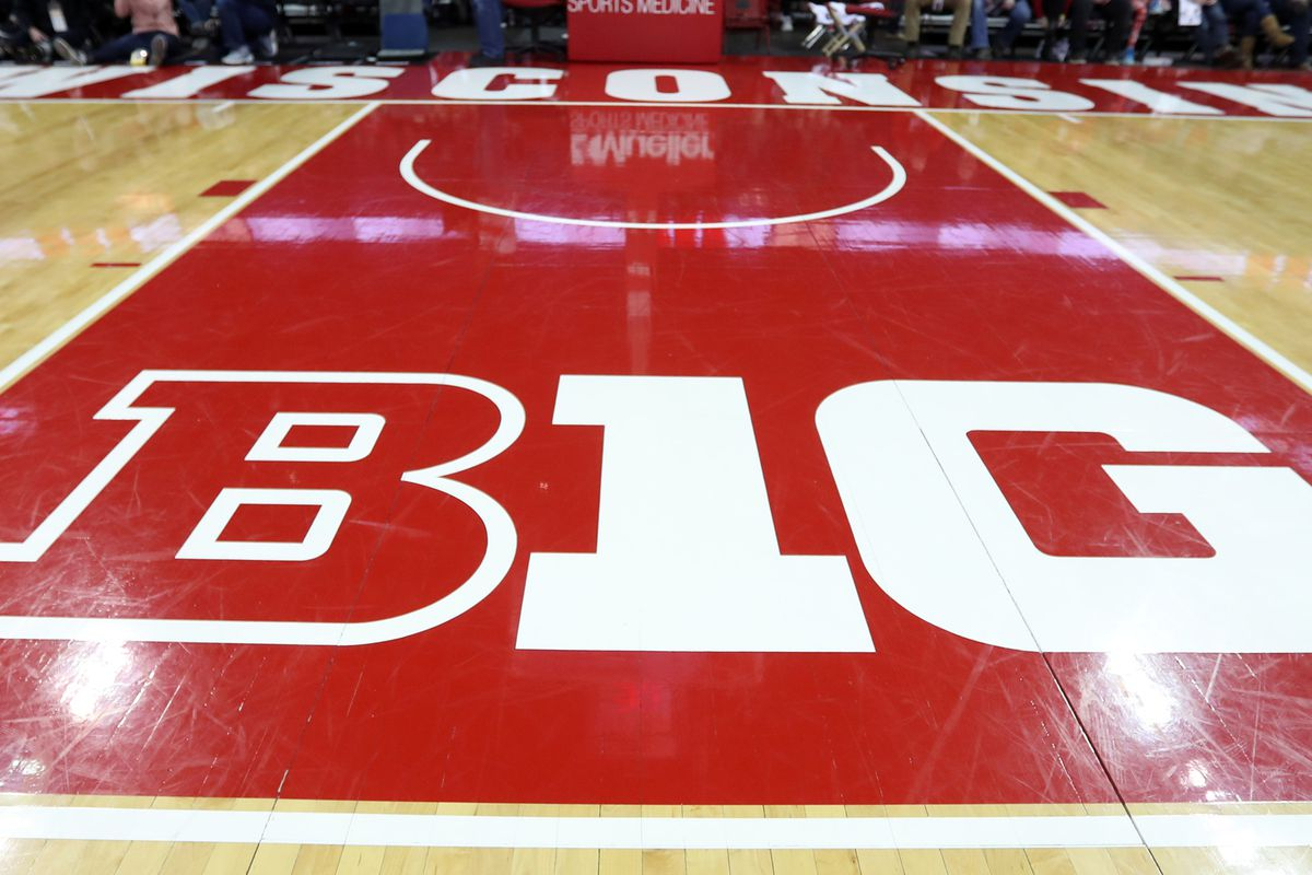The Big Ten logo on the floor at the Kohl Center before the game between the Wisconsin Badgers and the Purdue Boilermakers.