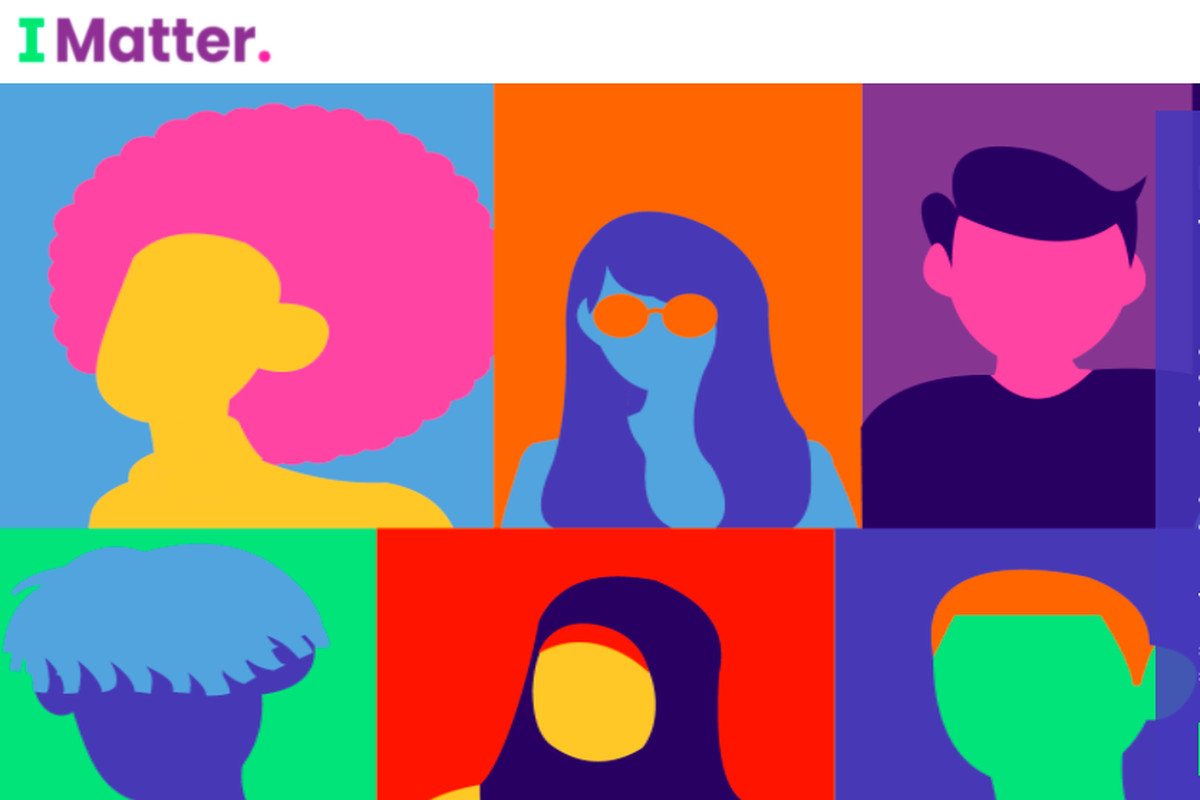 Colorful outlines of diverse people in boxes, including someone that has an afro, and someone wearing what appears to be hijab, below the words I Matter.