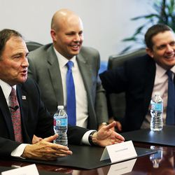 Gov. Gary Herbert, left, campaign manager Marty Carpenter, and Jon Cox, director of communications, meet with the Deseret Media Companies Editorial Board in Salt Lake City on Monday, May 23, 2016.
