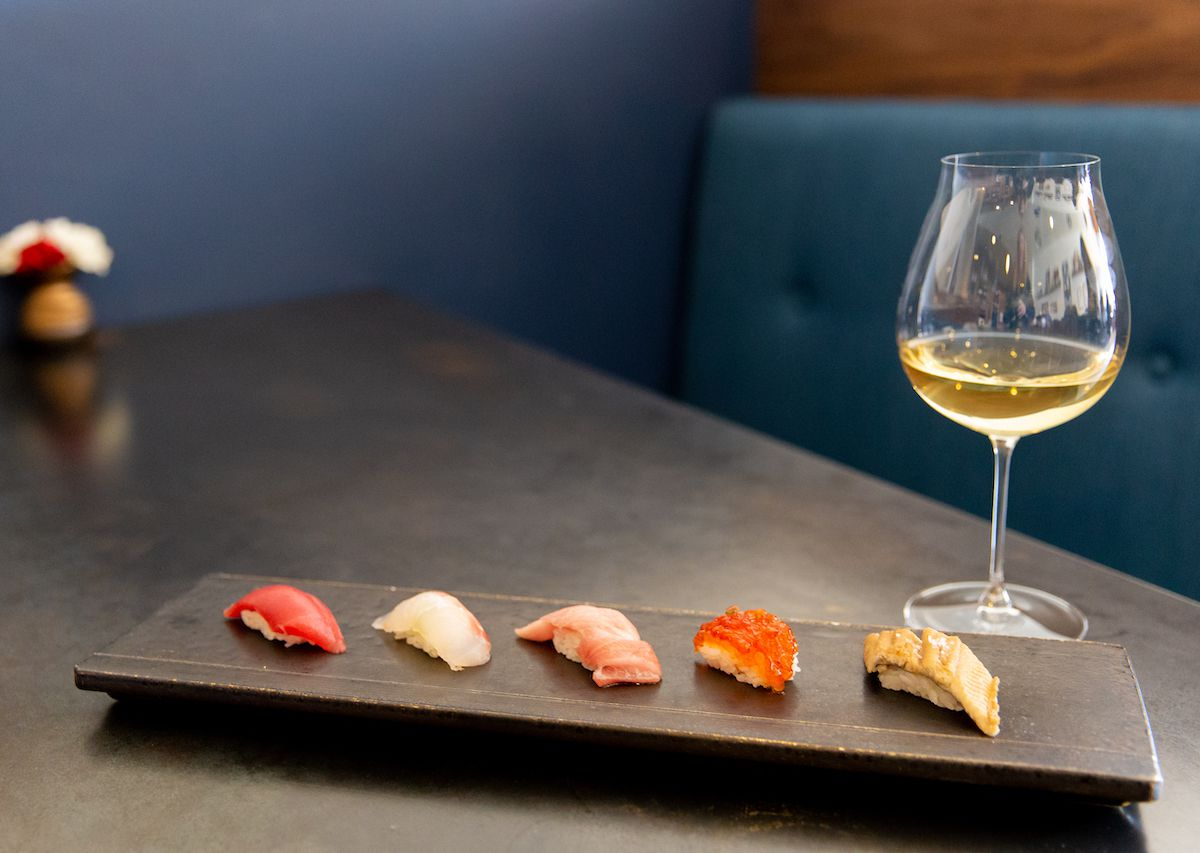 A glass of wine and sushi platter at Sherman Oaks' Sushi Note