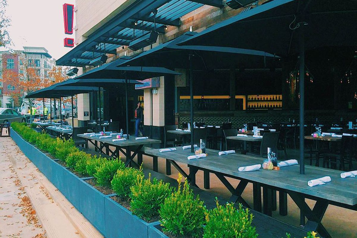 The patio at Eureka! in the West Village.