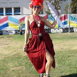 We dig this fierce Carmen Miranda-inspired look on festivalgoer Paula Zimmerman.