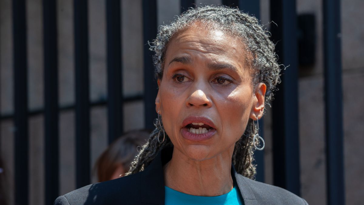 Mayoral candidate Maya Wiley advocates for the Adult Survivors Act during a press conference outside Columbia University, May 26, 2021.