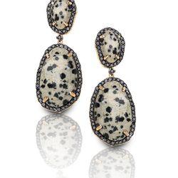 "Black Diamond Framed Leopard Jasper Earrings, <a href=""http://shop.phillipsfrankel.com/EARRINGS/Black-Diamond-framed-Leopard-Jasper-Earrings-p450.html"">$5900</a>"