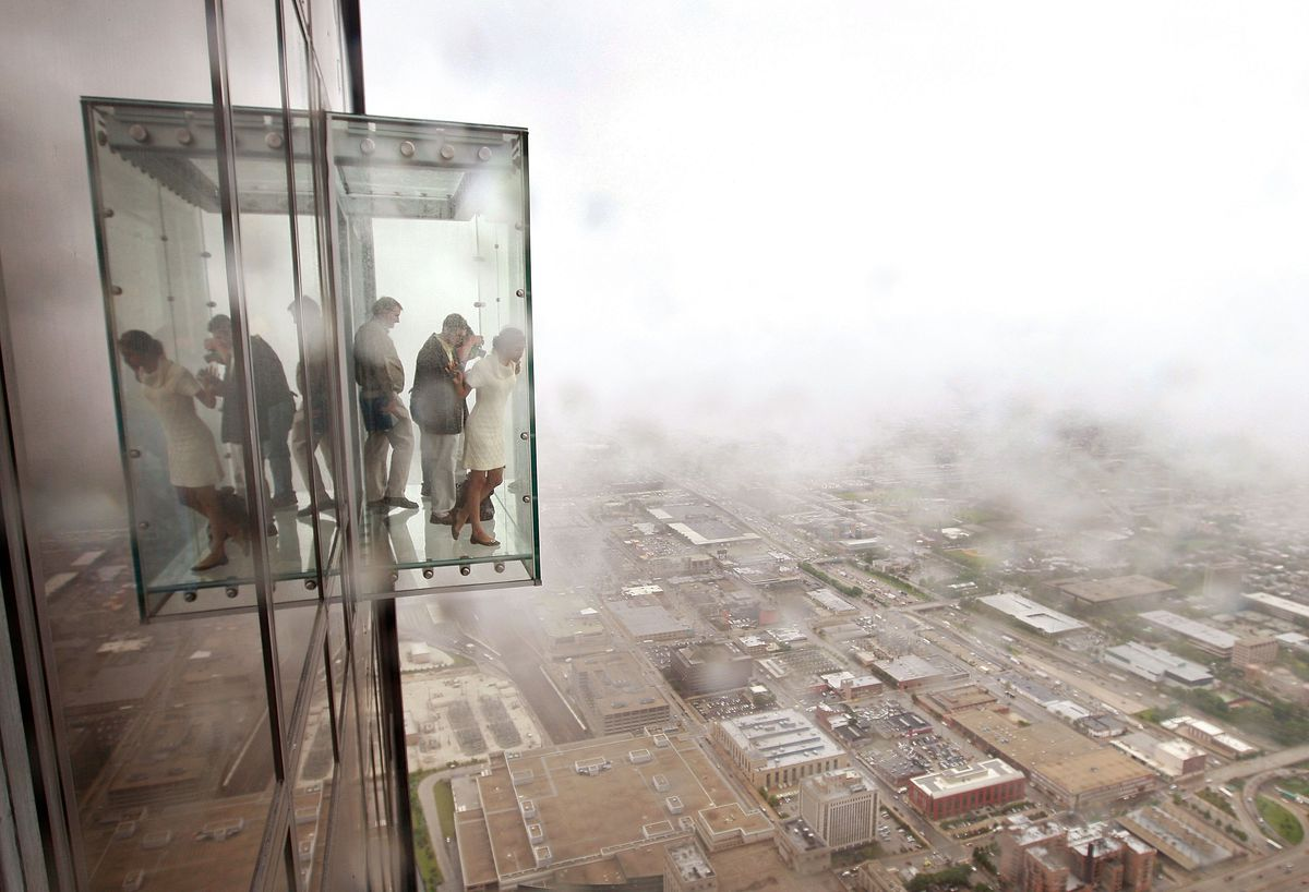 Visitors Check Out The View From Ledge A Glass Cube That Juts 103rd Floor Skydeck Of Sears Tower Getty Images