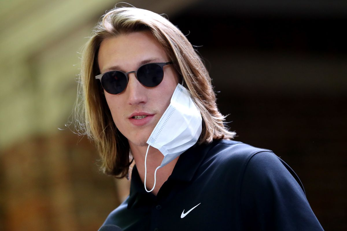 """Clemson quarterback Trevor Lawrence addresses the media before the """"March for Change"""" protest at Bowman Field on June 13, 2020 in Clemson, South Carolina."""