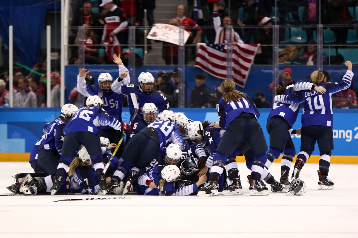 The United States celebrates after defeating Canada in a shootout to win the Women's Gold Medal Game on day thirteen of the PyeongChang 2018 Winter Olympic Games at Gangneung Hockey Centre on February 22, 2018 in Gangneung, South Korea.