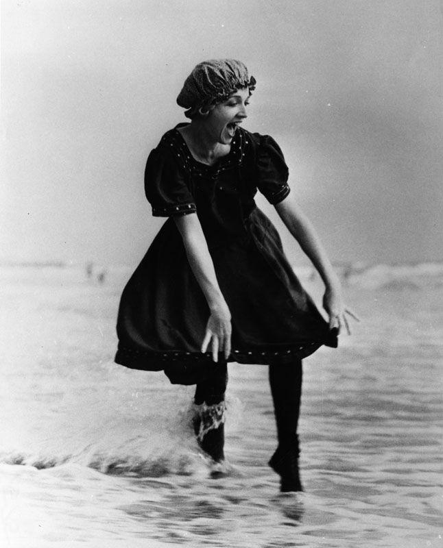 Woman in vintage bathing costume