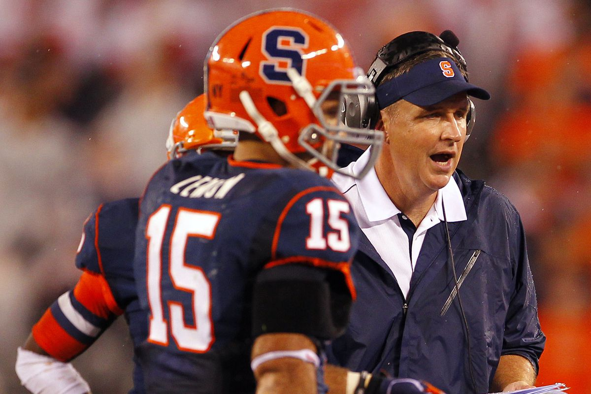 """Doug Marrone, here reacting to the 5,000,000th """"I'm at Chipotle!"""" tweet from a Syracuse student-athlete."""