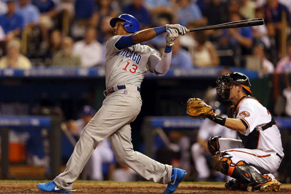 National League All-Star Starlin Castro of the Chicago Cubs bats in the eighth inning during the 83rd MLB All-Star Game at Kauffman Stadium in Kansas City, Missouri.  (Photo by Jonathan Daniel/Getty Images)