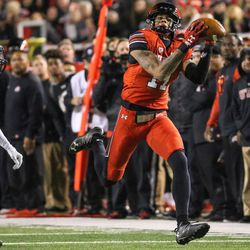 Utah Utes wide receiver Demari Simpkins (17) reels in a pass during the game against the Colorado Buffaloes at Rice-Eccles Stadium in Salt Lake City on Saturday, Nov. 25, 2017.