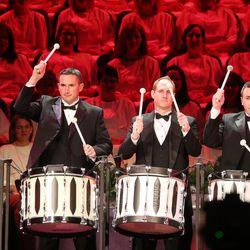 Drummers perform during the Mormon Tabernacle Choir Christmas concert in Salt Lake City on Thursday, Dec. 14, 2017.