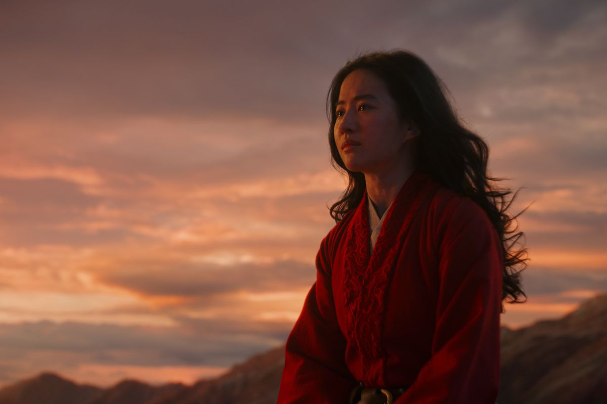 "A shot of Mulan (Yifei Liu) in ""Mulan."""