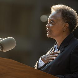 Chicago Mayor Lori Lightfoot speaks during the commemoration of the 20th anniversary of 9/11 at the Richard J. Daley Plaza in the Loop, Saturday morning, Sept. 11, 2021.