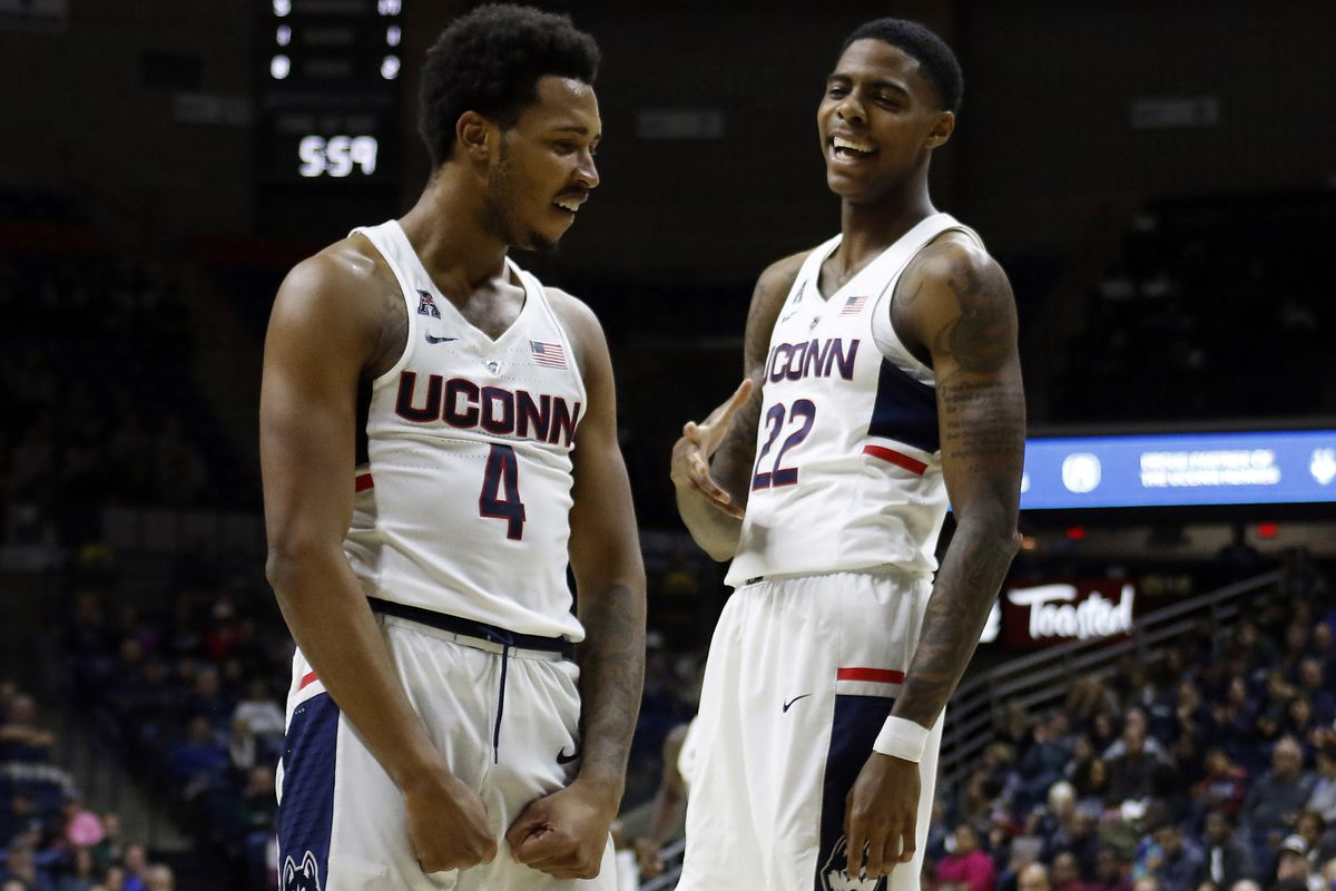 The UConn Huskies take on the Queens College Knights in a men's college basketball exhibition game at Gampel Pavilion in Storrs, CT on November 5, 2017.