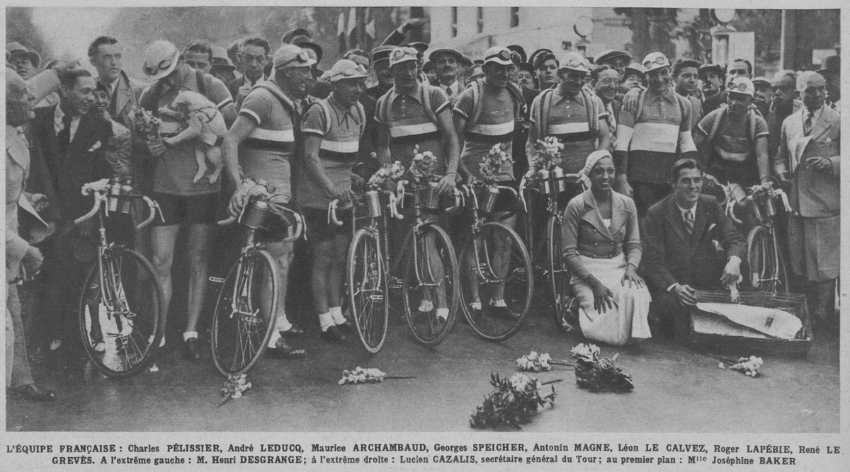 Josephine Baker with the French Tour team