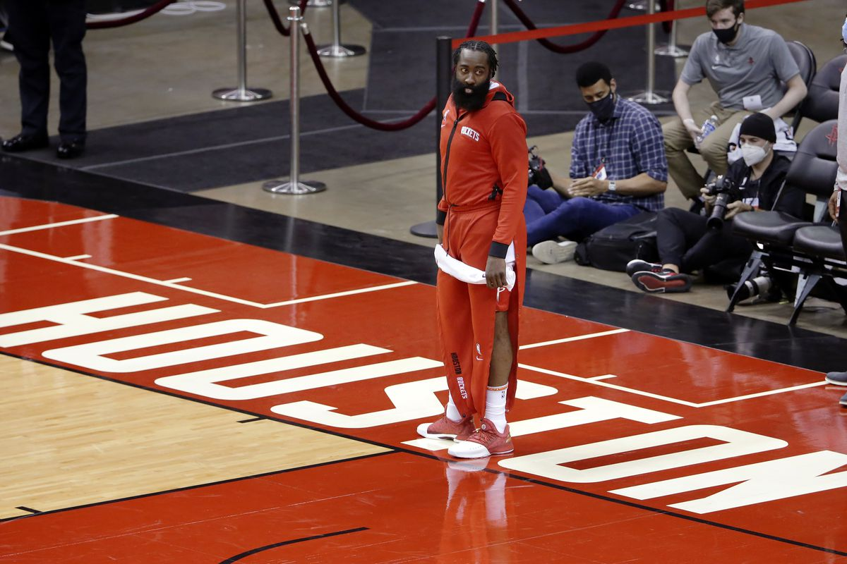 Houston Rockets guard James Harden leaves the court after a victory over the San Antonio Spurs.