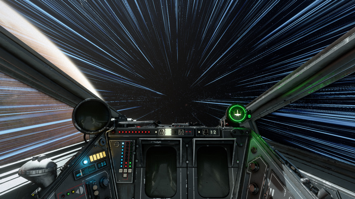 An X-Wing boosts in Star Wars: Squadrons