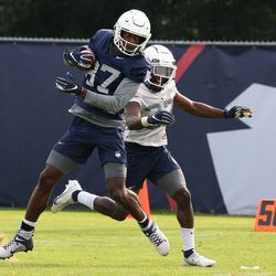 UConn's Cameron Hairston #87 during UConn Huskies football practice on Saturday, August 7, 2021