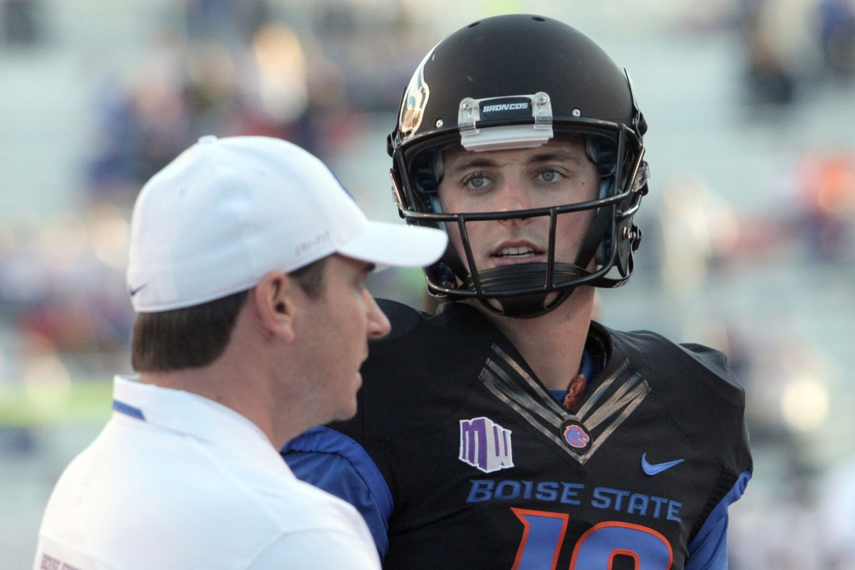 Joe Southwick career as a Bronco is over. The senior quarterback, conferring with Boise St. quarterbacks coach Jonathan Smith above, has been sent home from Hawaii for violating team rules.
