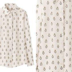 """<b>Uniqlo x Celia Birtwell</b> Silk Blouse in Off White, <a href=""""http://www.uniqlo.com/us/store/goods/080130003?gareco=r_l4"""">$49.90</a>"""