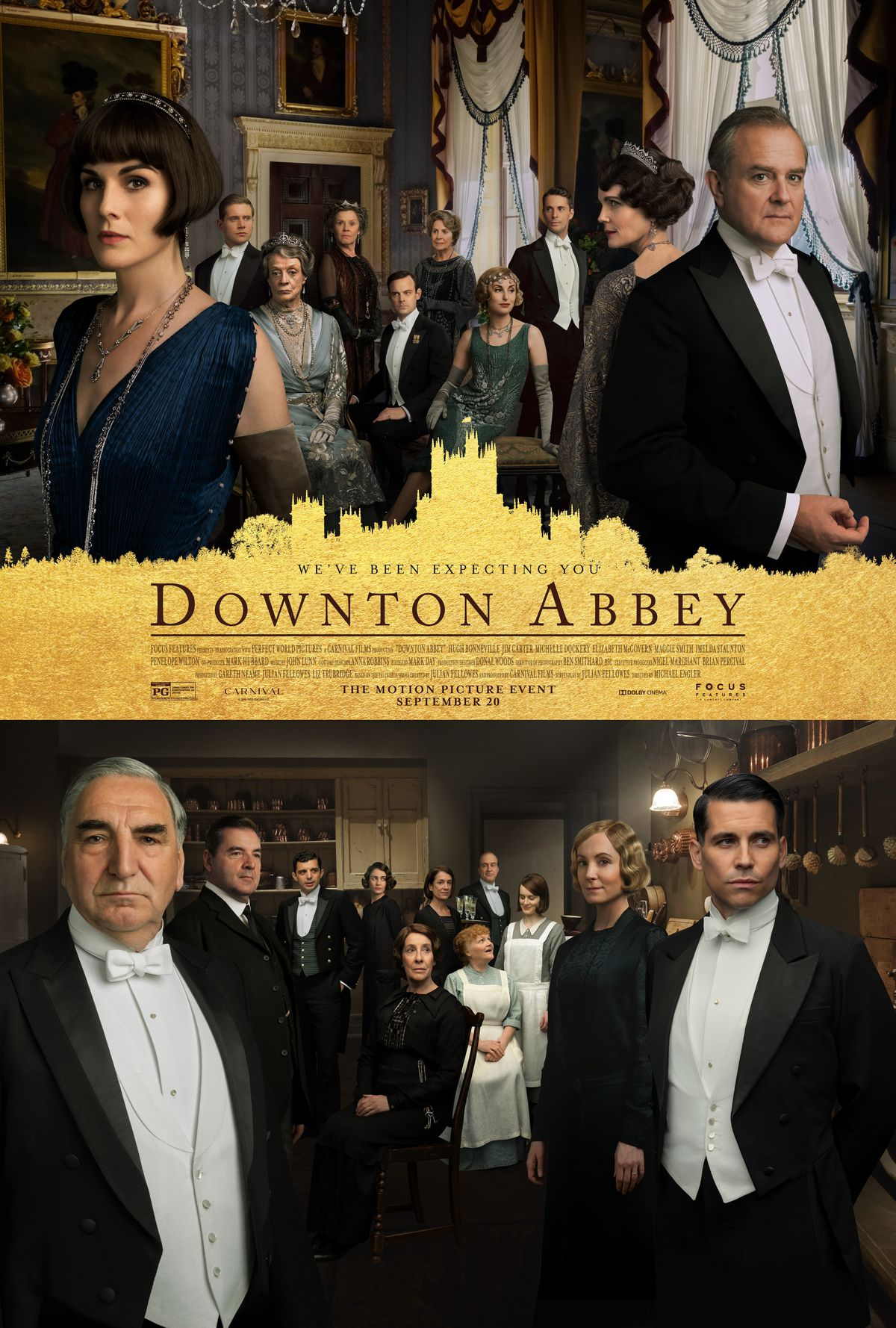 The Downton Abbey movie poster shows the servants in the lower half of the poster and the gentry in the upper half.