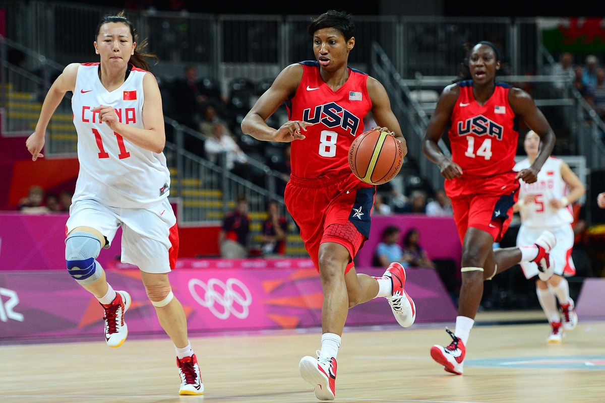 Angel McCoughtry brings the ball up court after stealing it away from China's Zengyu Ma McCoughtry shared the prelim lead with 2.8 steals per game. (Credit: Andrew Weber-USA TODAY Sports)