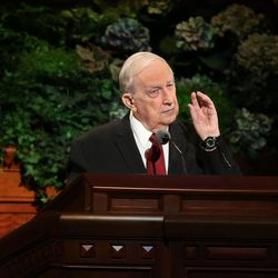 Elder Richard G. Scott speaks during the morning session of the 183rd Semiannual General Conference of the Church of Jesus Christ of Latter-day Saints Sunday, Oct. 6, 2013, in Salt Lake City.