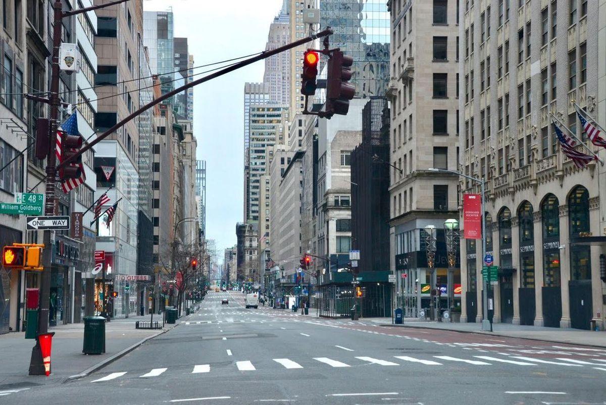 An empty Madison Avenue during the coronavirus epidemic.