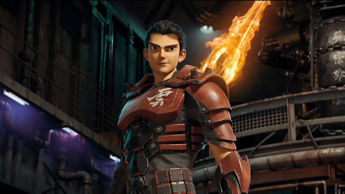 New Gods: Nezha Reborn: A hero in red armor stands in a factory with a flaming sword