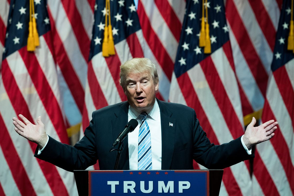 Donald Trump in New York during the 2016 presidential campaign introducing his running mate, Mike Pence.