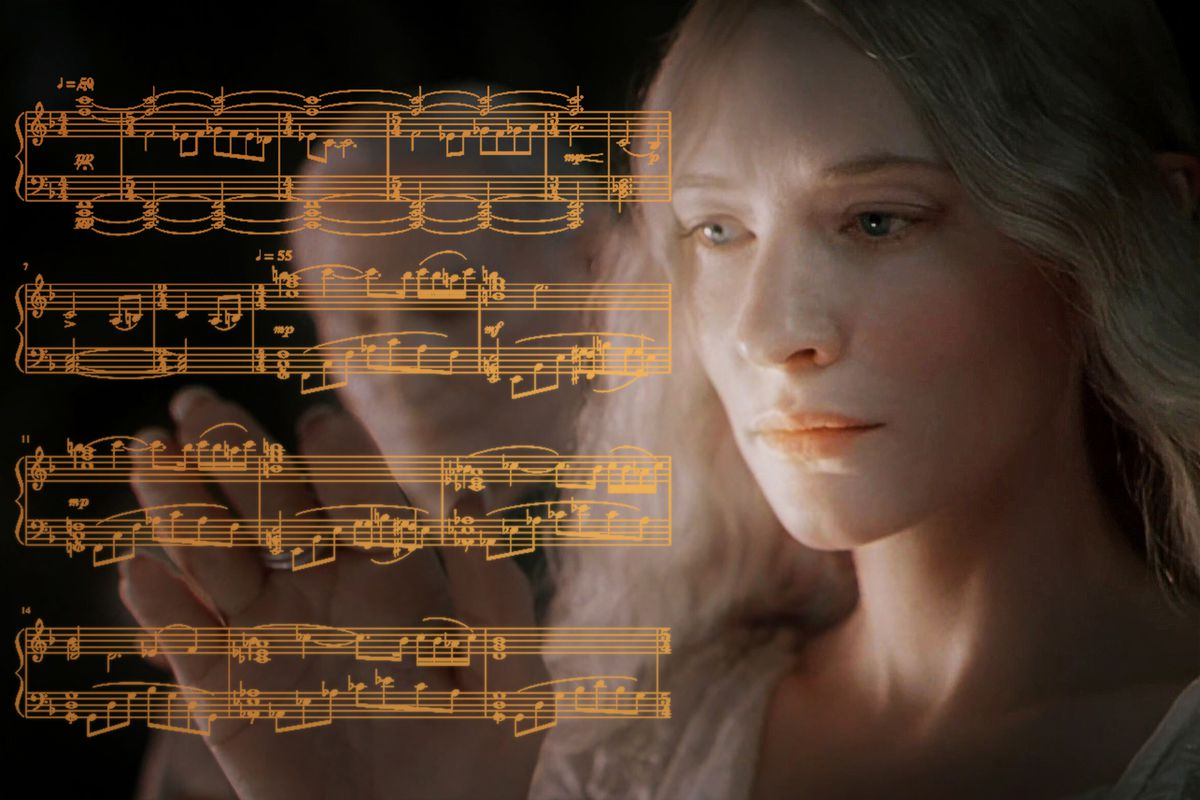 Actress Cate Blanchettas Galadriel from The Lord of the Rings movie looks on wistfully at music from Howard Shores soundtrack