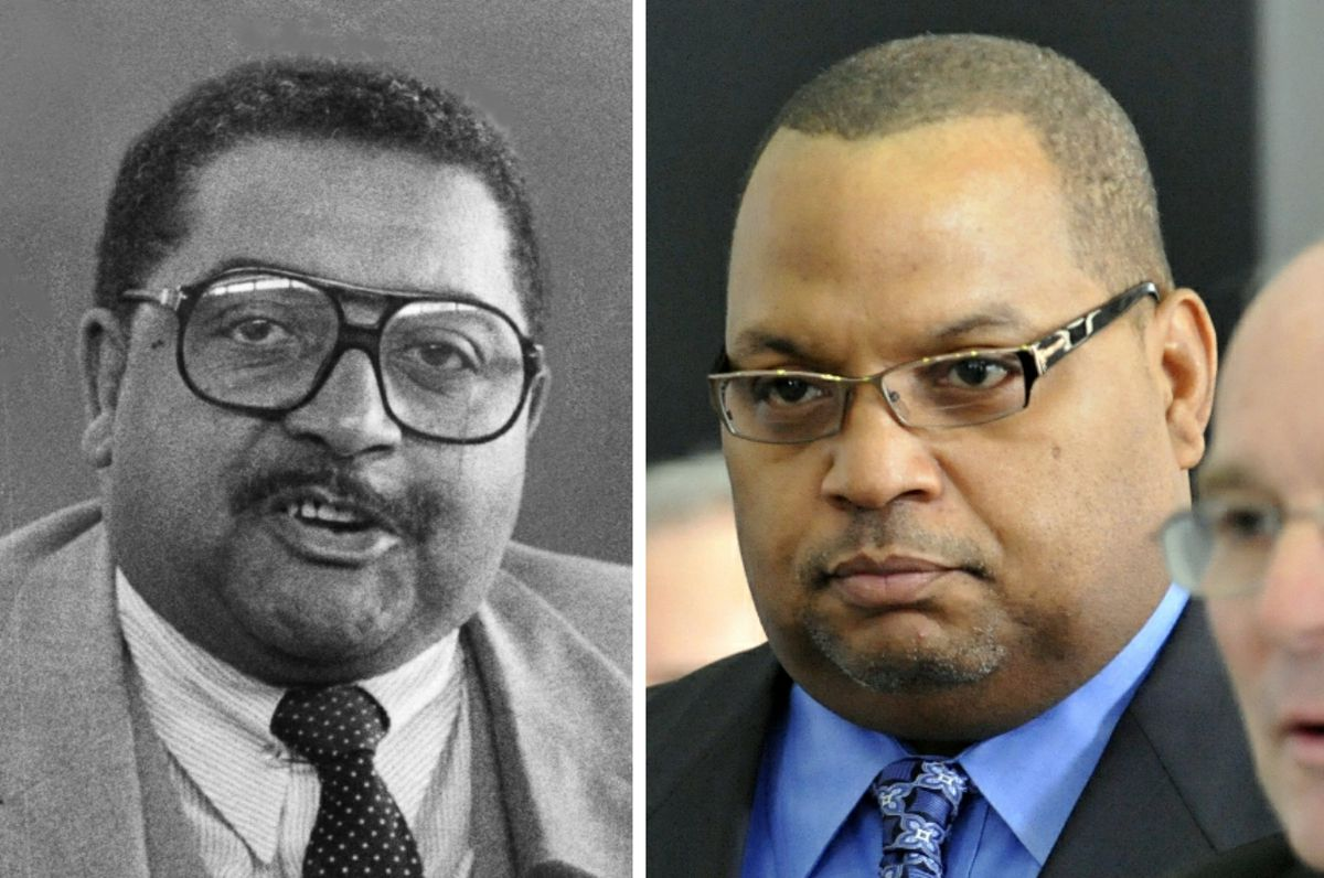 """Ald. William Carothers (28th), left, in 1981, and his  son, Ald. Isaac """"Ike"""" Carothers (29th), right, in 2010."""