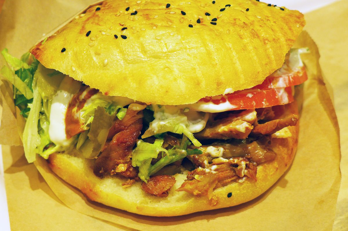 The epic chicken doner on Turkish bread