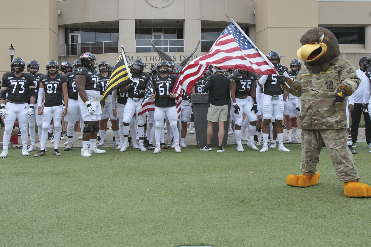 Southern Miss mascot, Seymour prepares to lead the Eagles onto the field during the Southern Miss Golden Eagles game against the North Alabama Lions on November 07, 2020, at M.M. Roberts Stadium, Hattiesburg, MS, November 7, 2020.