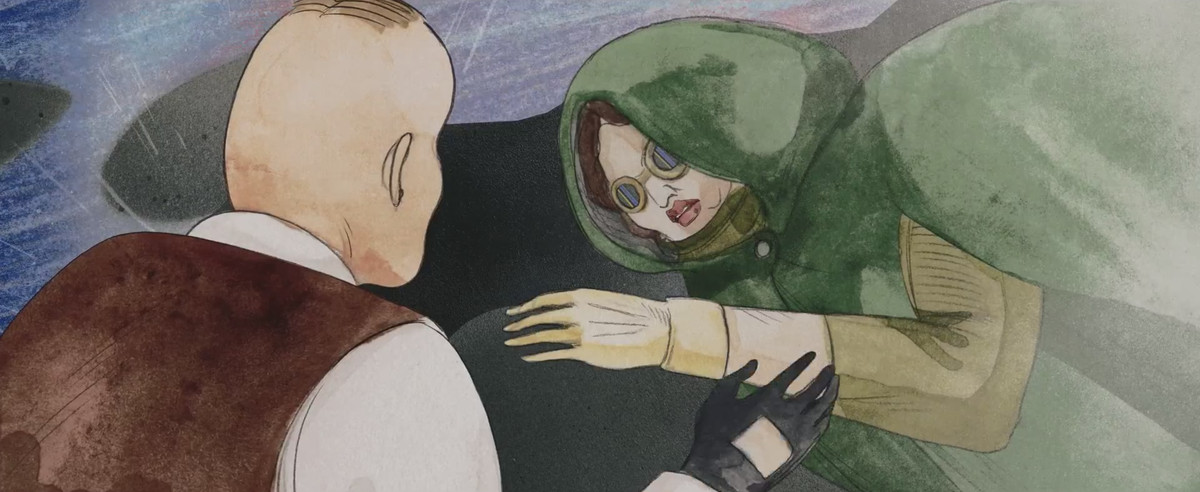 Injured woman dressed in a green cape and goggles sits in the rain as her rival stands over her in Cryptozoo