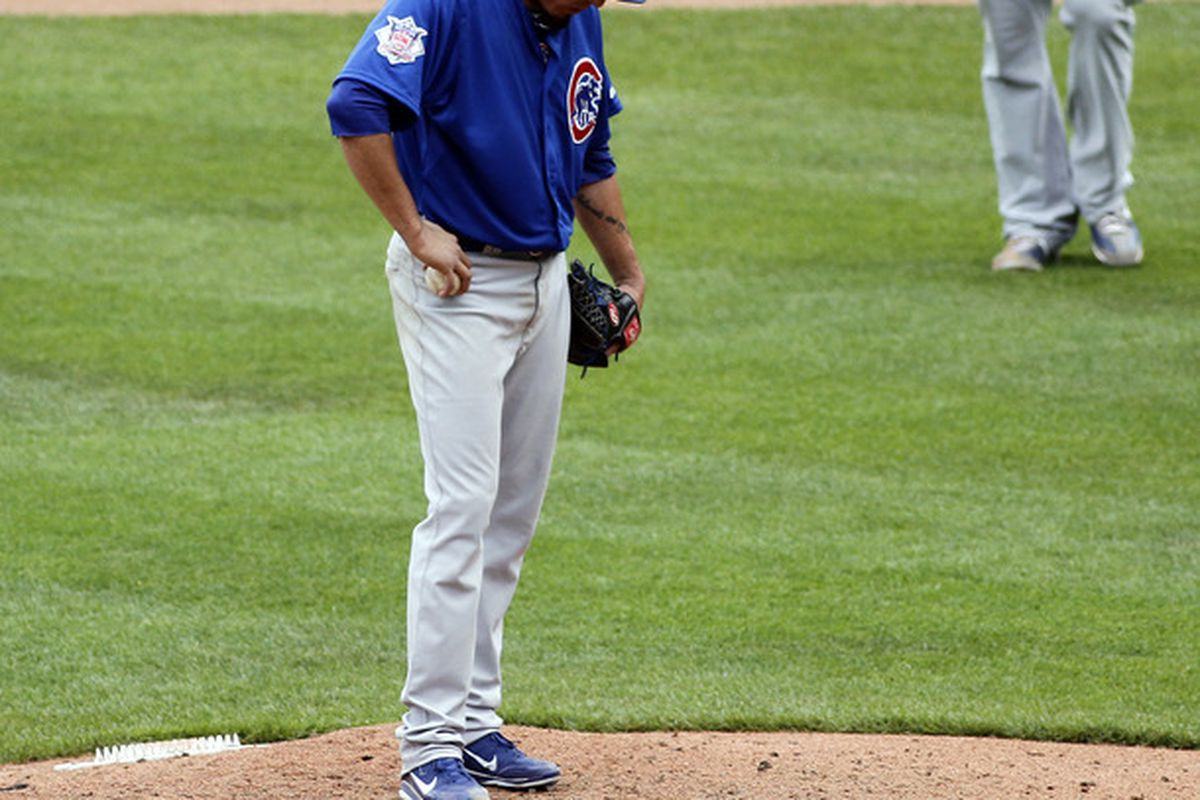 Matt Garza of the Chicago Cubs reacts after giving up a home run to Garrett Jones of the Pittsburgh Pirates at PNC Park in Pittsburgh, Pennsylvania.  (Photo by Justin K. Aller/Getty Images)